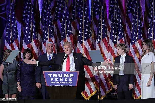 Presidential election winner Donald J Trump speaks on stage at his election night event at The New York Hilton Midtown on November 8 2016 in New York...