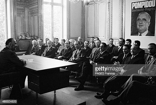 PARIS FRANCE JUNE 1969 Presidential elections 1969 georges pompidou gathers the leaders of the udr the pdm and the independent republicans to...