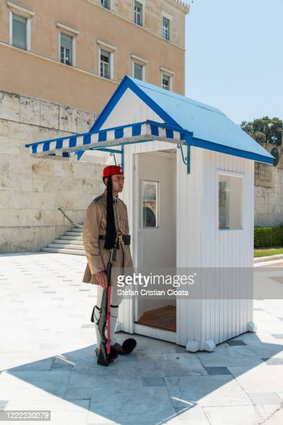presidential guard in front of hellenic parliament, athens, greece - ギリシャ国会議事堂 ストックフォトと画像