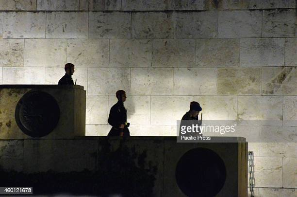 Presidential Guards arrive at Syntagma square. Greek unions and left wing political parties organized a demonstration in Syntagma square in front of...