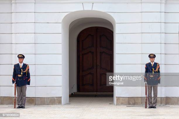 presidential guards at the office of the president of the slovak republic - gwengoat foto e immagini stock