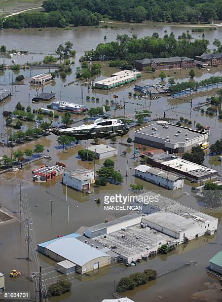 Presidential helicopter flies above flood damage on June 19, 2008 in Iowa City, Iowa. US President George W. Bush is in Iowa to survey flood damage....