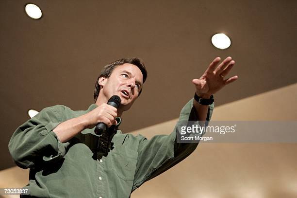 Presidential hopeful former Sen. John Edwards speaks during a town hall style meeting at the Iowa Memorial Union at the University of Iowa January...