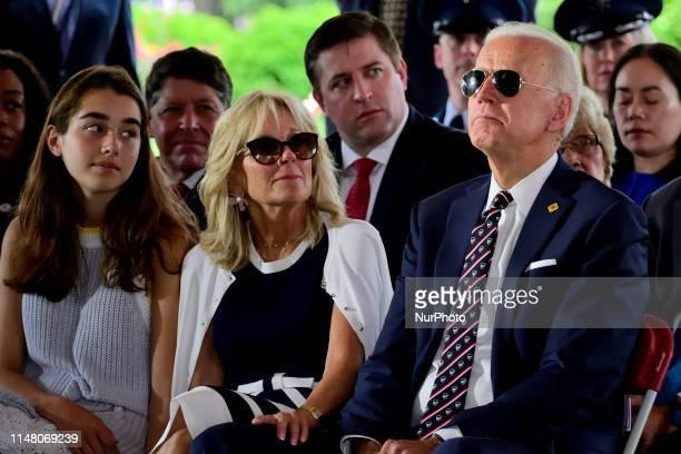 Presidential hopeful Former Vice President Joe Biden joined by Dr Jill Biden and granddaughter Natalie Biden on his side attend the Delaware Memorial...