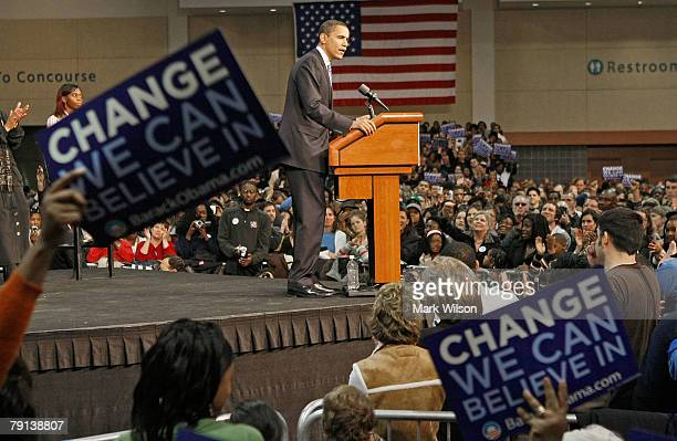 """Presidential hopeful Sen. Barack Obama speaks during a """"Stand Together For Change"""" rally at the Columbia Metropolitan Convention Center January 20,..."""