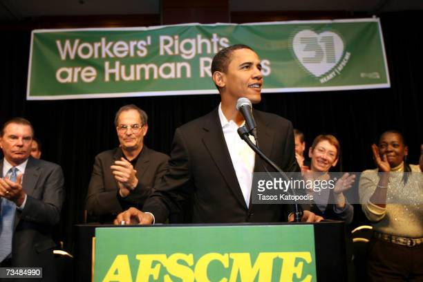 Presidential hopeful Senator Barack Obama speaks at rally for workers rights held by the American Federation of State County and Municipal Employees...