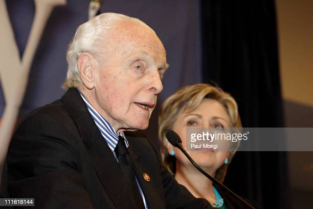 Presidential hopeful Senator Hillary Clinton with Representative Tom Lantos of California the only Holocaust survivor to serve in Congress at an...