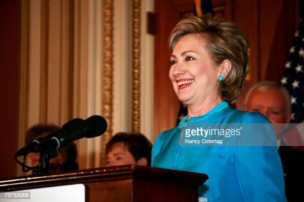 Presidential hopeful Senator Hillary Rodham Clinton speaks at the National Breast Cancer Coalition news conference at The Capitol on March 28 2007 in...