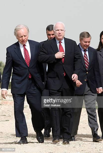 S presidential hopeful Senator John McCain Senator Lindsey Graham and Senator Joe Lieberman visit the Amman Citadel an ancient Roman landmark March...