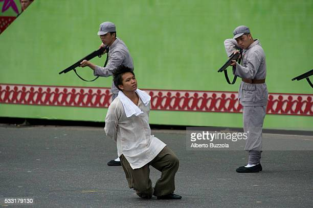 ROC presidential Inauguration Man dressed in 1949 Republic of China military personnel perform in front of Taiwan Presidential Palace to inaugurate...