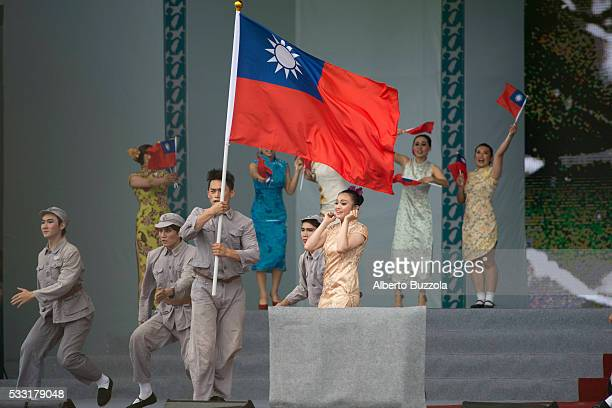 ROC presidential Inauguration Man dressed in 1949 Republic of China military personnel perform on the stage in front of Taiwan Presidential Palace to...