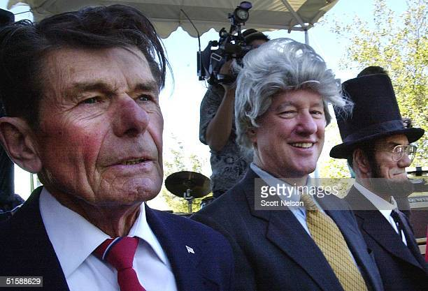Presidential lookalikes Jay Koch as Ronald Reagan Tom Paige as Bill Clinton and Wally Collier as Abraham Lincoln compete during the 04 February 2001...