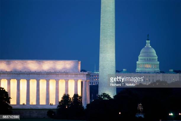presidential memorials and u.s. capitol building - national monument stock pictures, royalty-free photos & images