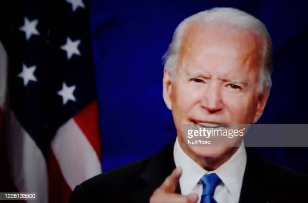 Presidential nominee and former US Vice President Joe Biden addresses the virtual 2020 Democratic National Convention, livestreamed online and viewed...