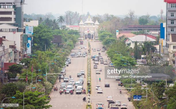 Presidential Palace and Lane Xang Aveune, Vientiane, Laos, Southeast Asia