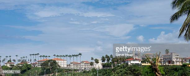 presidential palace and old spanish cathedral in skyline of the capital city of malabo, equatorial guinea, africa - malabo fotografías e imágenes de stock