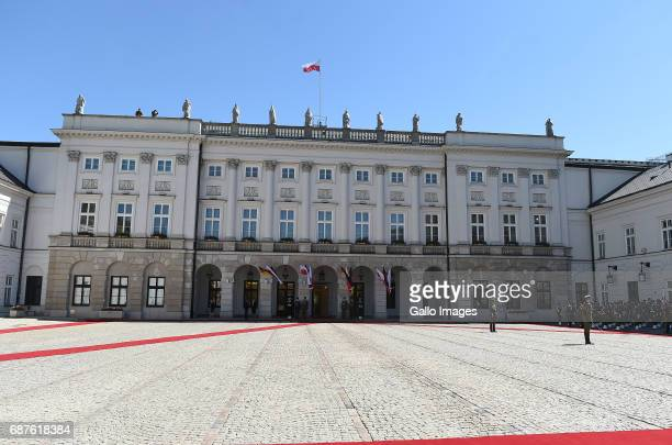 Presidential Palace seen during the official visit to Poland of the President of Germany FrankWalter Steinmeier and his wife Elke Budenbender on May...