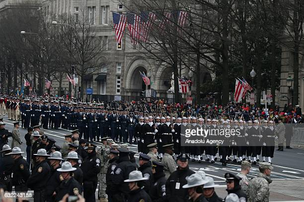 Presidential parade after the swearing in ceremony of the 45th President of the United States of America Donald Trump on January 20 2017 in...