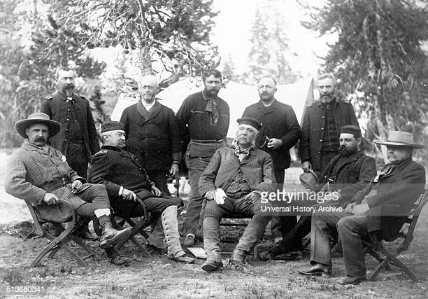 Presidential party Upper Geyser Basin' Photograph is group portrait of members of Chester A Arthur's expedition to Yellowstone National Park