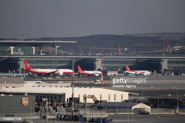 Presidential plane 'CAN' carrying Turkish President Recep Tayyip Erdogan arrives at the field of the New Istanbul Airport ahead of its opening...
