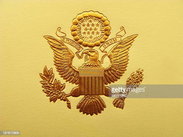 presidential seal president usa coat of arms - presidential candidate stock pictures, royalty-free photos & images