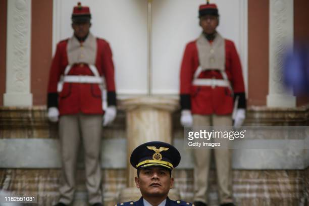 Presidential security stand inside of the presidential palace on press conference of Jeanine Añez president of Bolivia on November 15 2019 in La Paz...