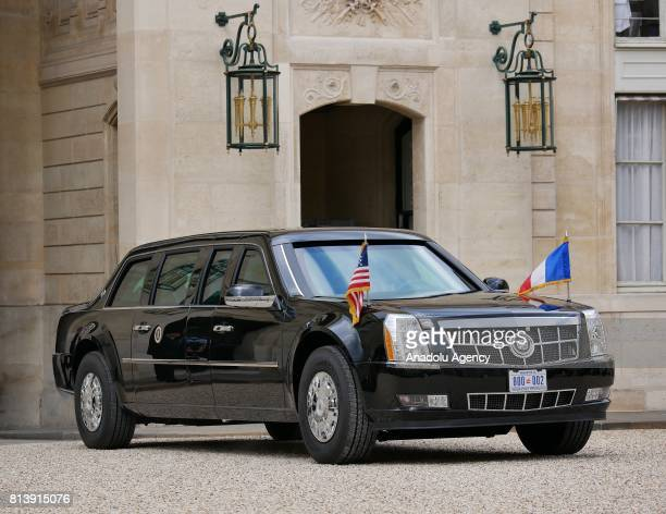 Presidential State Car carrying Donald Trump arrives at the Elysee Palace in Paris France on July 13 2017