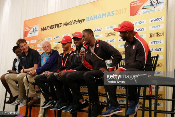 President/LOC CEO Rosamunde Carey IAAF CEO Olivier Gers IAAF event manager Keith Parker Andre De Grasse Akeem Haynes Aaron Brown and Brendon Rodney...