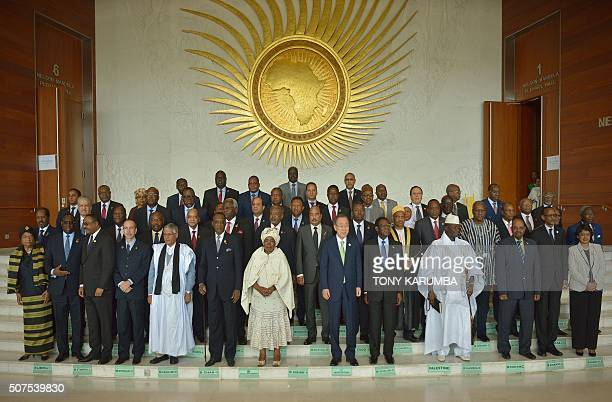 Presidents and leaders of government pose for an African Union family portrait on January 30 2016 at the AU headquarters in Addis Ababa African...
