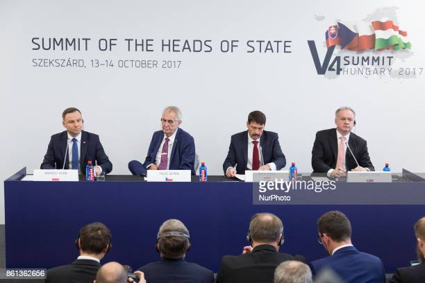 Andrzej Duda of Poland Milos Zeman of the Czech Republic Andrej Kiska of Slovakia and Janos Ader of Hungary during a press conference after the...