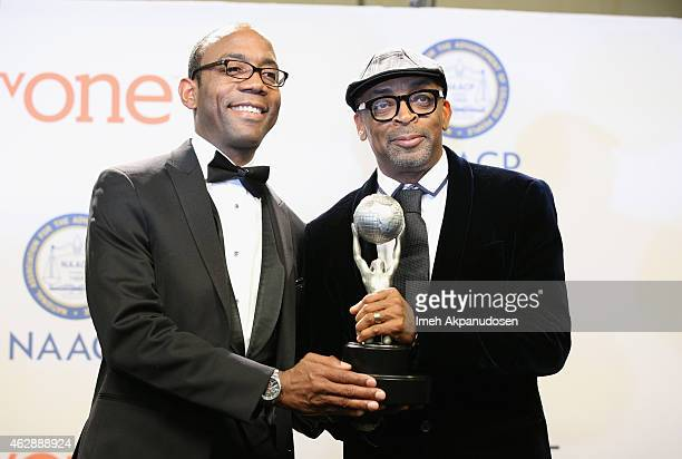 President's Award honoree/director Spike Lee and NAACP National President CEO Cornell William Brooks pose in the press room during the 46th NAACP...