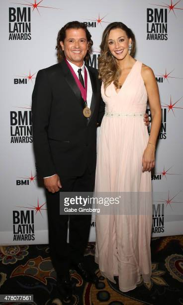 President's Award reciepient singer Carlos Vives and his wife Claudia Elena Vives arrive at the 21st annual BMI Latin Awards at the Bellagio on March...
