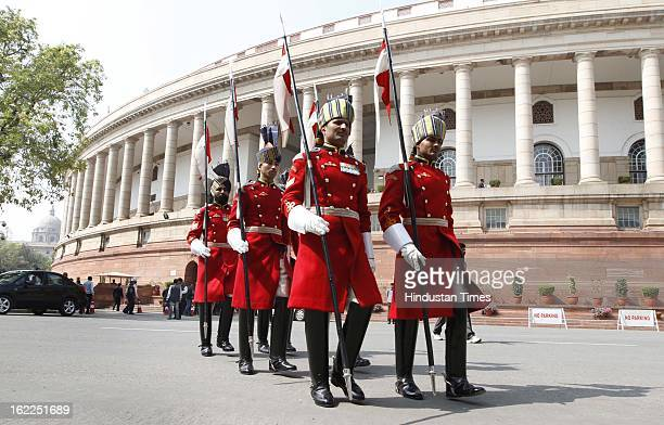 President's Body guards coming out after President speech at the Parliament house beginning of the budget session on February 21 2013 in New Delhi...