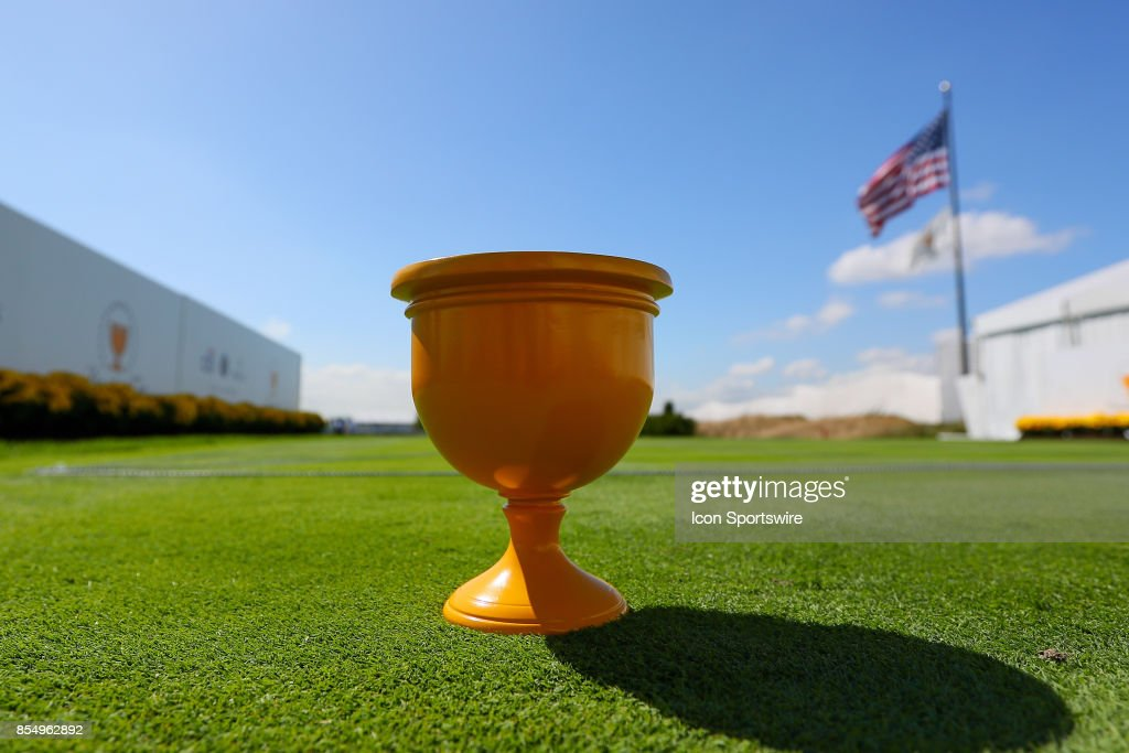 A Presidents Cup Tee Marker during Day 3 practice of the Presidents Cup on September 27, 2017, at Liberty National Golf Club in Jersey City, NJ.