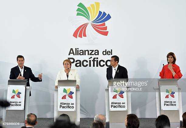 Presidents Enrique Pena Nieto of Mexico Michelle Bachelet of Chile Ollanta Humala of Peru and Colombian Foreign Affairs Minister Maria Angela Holguin...