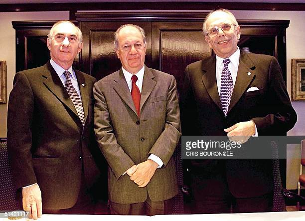 Presidents Fernando de La Rua of Argentina Ricardo Lagos of Chile and Jorge Battle of Uruguay gather before participating in the inauguration...