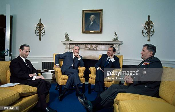 Presidents Georges Pompidou and Richard Nixon meet at the White House during the French President's official visit to the United States