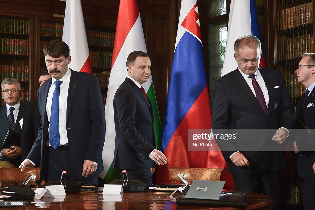Poland: the second plenary session during the Visegrad Group summit in Lancut Castle