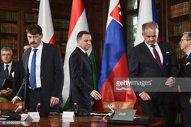 Presidents Janos Ader Andrzej Duda and Andrej Kiska arrive for the second plenary session 'The identity of Europe the traditions values and culture'...