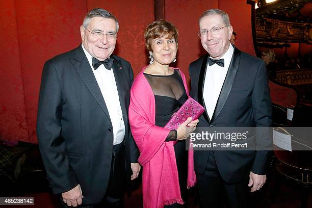 AROP Presidents JeanLouis Beffa and Evelyn HaimSwarovski with President of Opera de Paris Bernard Stirn at Le Chant De La Terre AROP Charity Gala At...
