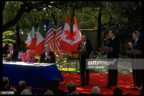 Presidents Mulroney Bush Salinas de Gortari during NAFTA Canada US Mexico treaty signing w US Trade Rep Hills