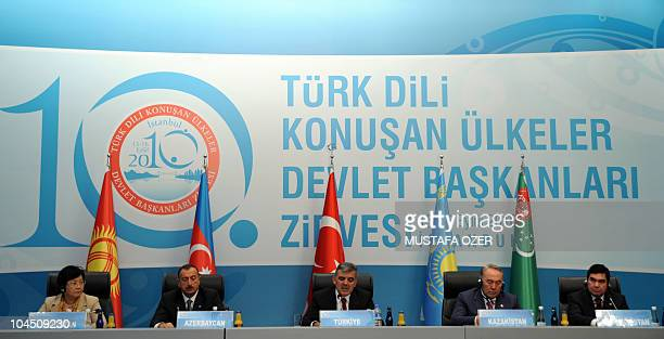 Presidents of Kyrgyzstan Roza Otunbaeva Azerbaijan's Ilham Aliyev Turkey's Abdullah Gul Kazahhstan's Nursultan Nazarbayev and Turkmenistan's...