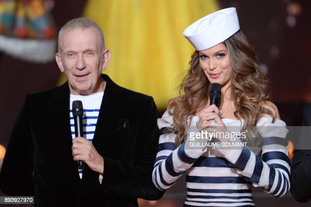 Presidents of the jury French designer JeanPaul Gaultier and Miss France 2016 and Miss Universe 2016 Iris Mittenaere speak on stage during the Miss...