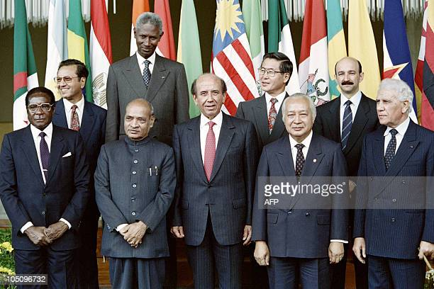 From L to R Presidents of Zimbabwe Robert Mugabe Narasimha Rao of India Carlos Andres Perez of Venezuela Mohammed Suharto of Indonesia and Chadli...