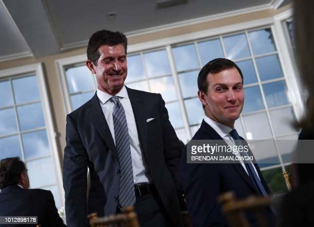 US President's Special Advisor and soninlaw Jared Kushner and Johnson Johnson CEO Alex Gorsky attend a dinner with the US president and business...