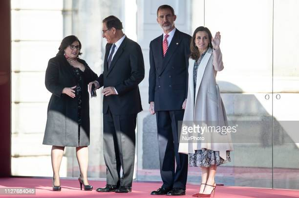President's wife Maribel Diaz President of Peru Martin Vizcarra King Felipe VI of Spain and Queen Letizia of Spain during the state visit of...