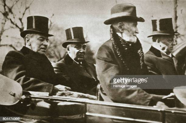 Presidents Wilson and Harding travelling to the Capitol Washington DC USA 1921 The Inauguration of Warren G Harding 29th President of the United...