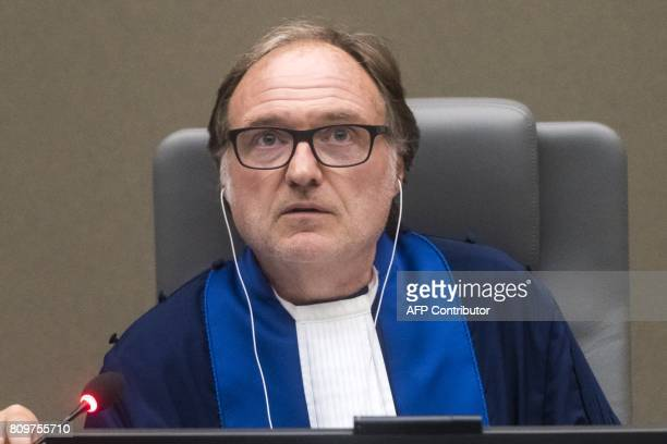 Presiding judge Cuno Tarfusser of Italy runs the International Criminal Court in The Hague on July 6 2017 Judges delivered a decision in the case...