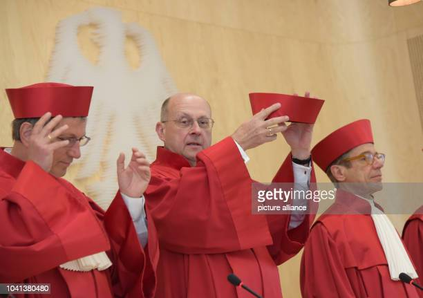 Presiding judge of the first senate of the Federal Constitutional Court of Germany Ferdinand Kirchhof and his colleagues Johannes Masing and Reinhard...