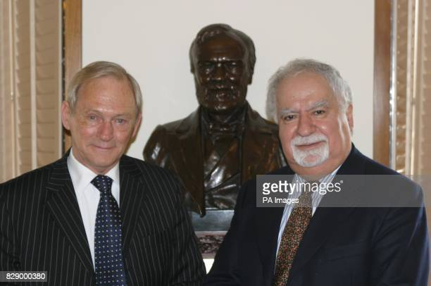 Presiding Officer George Reid with Vartan Gregorian the President of the Carnegie Corporation of New York and a bust of Andrew Carnegie